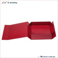custom made cardboard red flat pack christmas gift boxes/ flat rigid box/ magnet folding chipboard Box