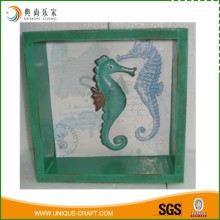 Metal Seahorse and Opening Wood Box Craft Home Decoration