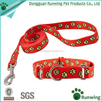 Little Dog Collar and Leashe Set Belt Polk Dot Pattern Adjustable Leashes 0.8cm(for toy dog)