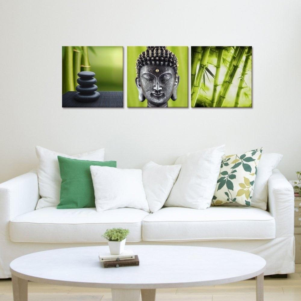 Merciful Buddha Canvas Wall Art/Green Bamboo Print on Canvas/Large Size Zen Stone 3 Panels Sets Canvas Print
