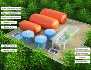 Cow/Chicken/Pig Farm Use15m3 Portable Assembled Waste Treatment Biogas Plant