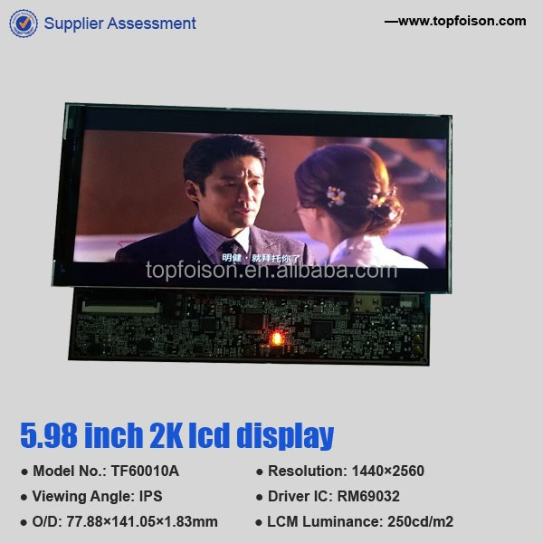 DIY VR WITH 6 inch 2k 1440P hot selling TFT LCD touch panel with high lumiance for medical product TF60010A