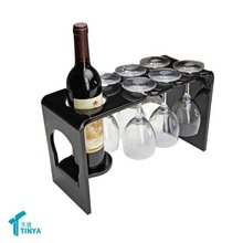 China Supplier Black Plastic Countertop Wine Glass Display Rack High Quality Warehouse Advertising Acrylic Wine Bottle Holder