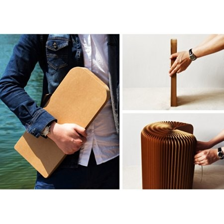 Creative Kraft Paper Folding Stool ,folds into a book with Leather Cushion (Brown)