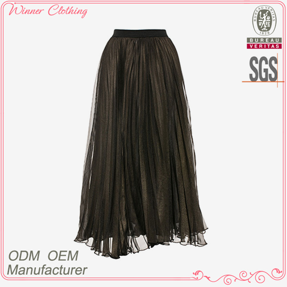 Ladies' fashion elegent high quality garment factory black lace layered skirt