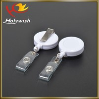 Promotional novelty round plastic retractable pull reel key chain