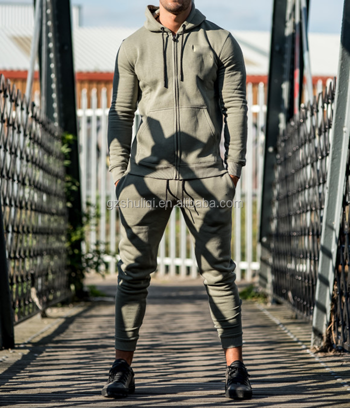 Skinny fitted men jogger suit men plain cotton jogging tracksuit
