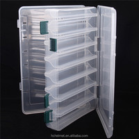 Promotion!! 14 Compartments Plastic Fishing Tackle Box Transparent Visible Plasti Tackle Box with Drain Hole