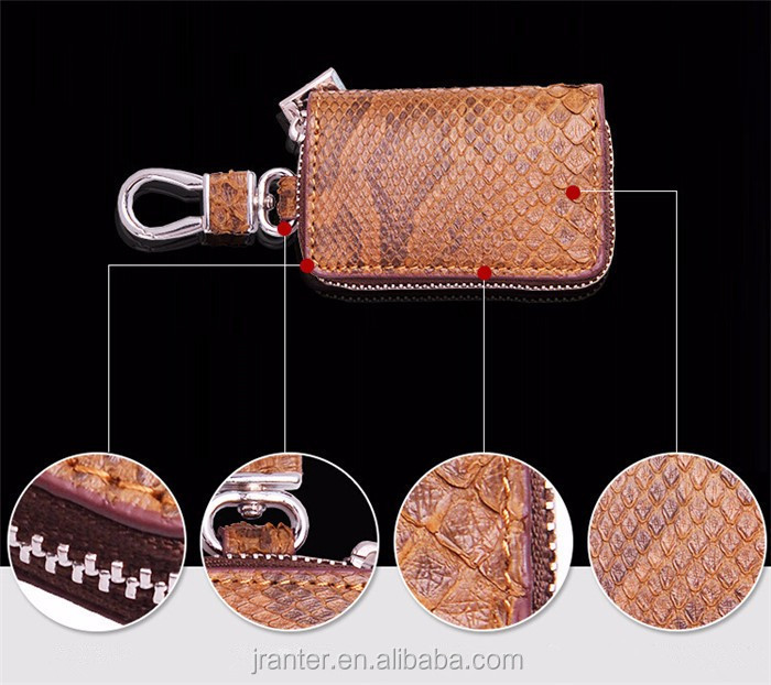 Best Selling personalized customize python snakeskin car key walelt,leather car key case