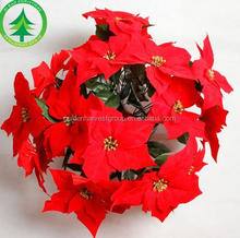wholesale 5 heads Artificial Poinsettia for Christmas Decoration
