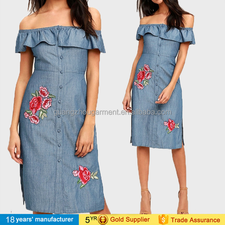 Fashion off-shoulder slash neck single-breasted flower embroidery vestido blue denim dresses patterns for women summer 2017