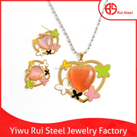 high end fashion wholesale big real stone heart jewelry with enamel butterfly