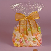 Gold satin ribbon chocolate opp cello gusset cellophane bags