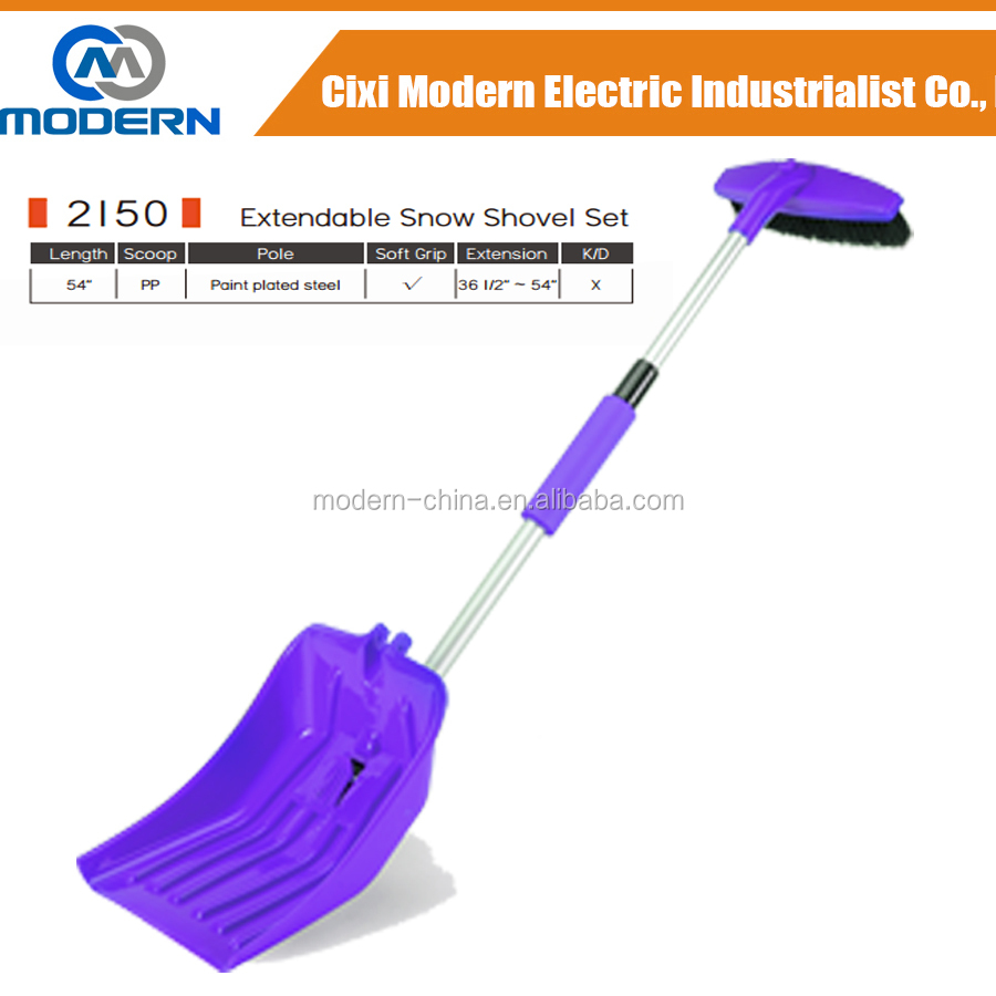blue red pink orange color long handle extendable snow shovel with strong and heavy duty ice scraper and removable snow brush