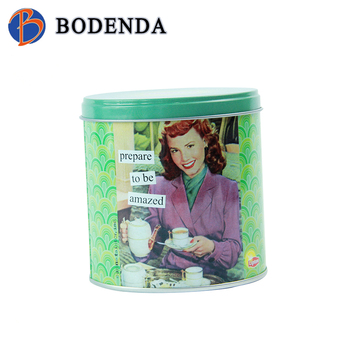Factory direct sale empty round metal chinese tea tin