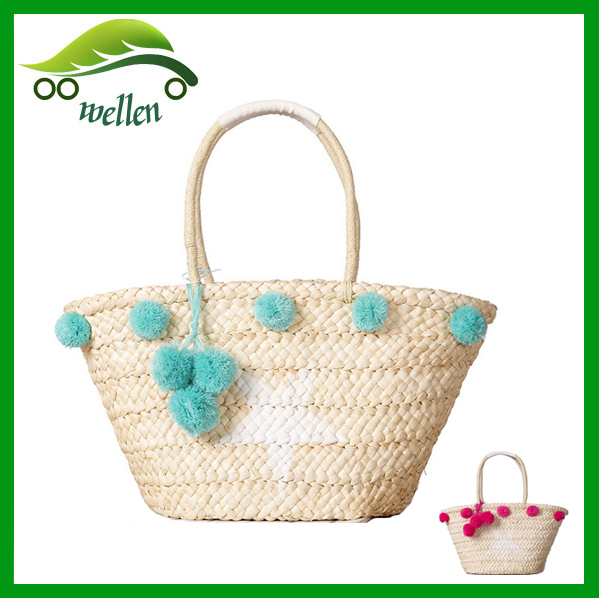 2017 New <strong>Designer</strong> Customized Recyclable Wholesale Straw Pom Pom Beach Bag