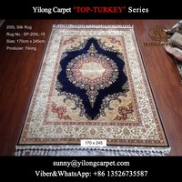 dark blue 170x245cm popular quality persian silk oriental carpet