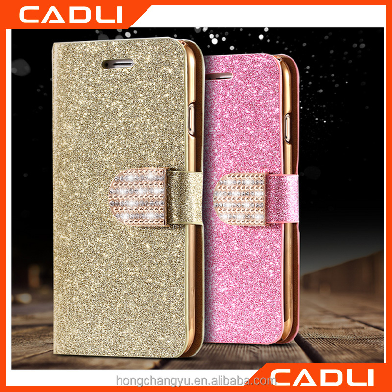Fashion Glitter Bling Diamond Flip Leather OEM Phone Case For Iphone 5 5s 5SE Card Slot Wallet Cover