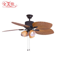 European Style Leaf Blade Living Room Restaurant Three Light Color Decorative AC Ceiling Fan with Remote Control
