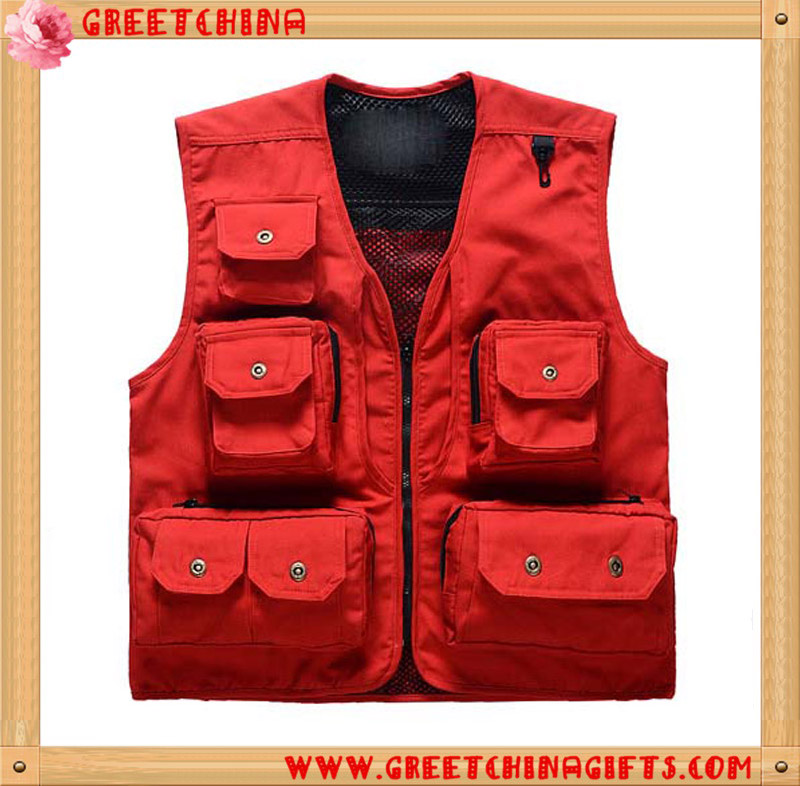Custom Accepted Outdoor Men Camping Hunting Multi Pocket Travel Fishing Vest