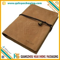 Elegant simple luxury wholesale cheap school leather notebooks with ktaft paper