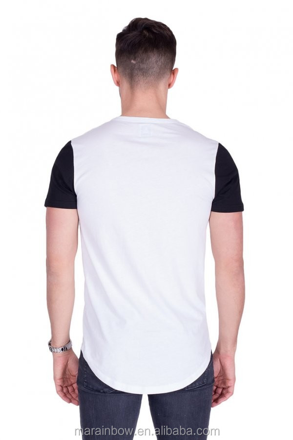 High Quality 100% Cotton Curved Hem T Shirt Contrast Short Sleeve Longline T Shirt Bulk Wholesale Fitted Gym T Shirt OEM