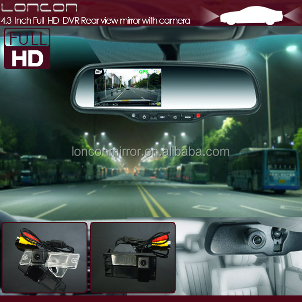 4.3 Inch Full HD 1080p car dvr rearview mirror for ford night vision camera for recording