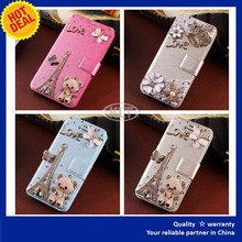 KLT diamond bling leather fold wallet case cover for cell phone