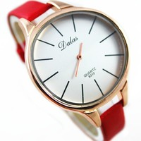new product vogue 2016 DALAS brand quartz watch women fashion rose gold arc big head casual lady leather cheap watch hot
