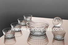 7PCS glass salad bowl set, glass fruit bowl set, engraved crystal salad bowls for sale