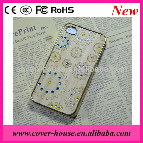 For iPhone 5G/5S Electroplating Bamboo Sticker Case with rhinestone