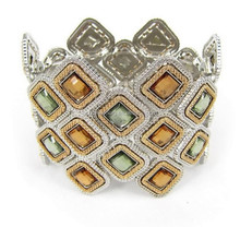 Gold and silver two plating tone bracelet with square shape stones