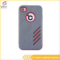 latest 2 in 1 pc tpu red and gray color hybrid armor cell phone cover for apple iPhone 4 4s 4G