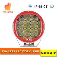 Factory price 9inch 185w round CE ROHS listed waterproof 27w tractor led work light for truck