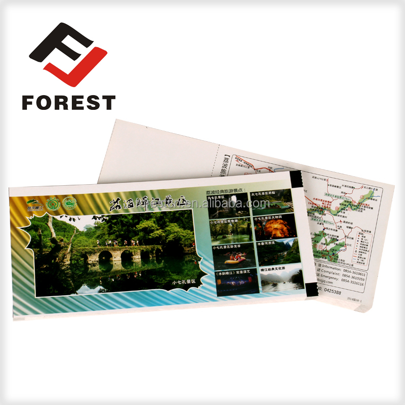 Double side printing scenic spot entrance tickets