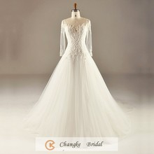 New Arrived Wedding Dress Off White Beading Applique Pearls Sexy Muslim Bridal Gown 2017 China Custom Made