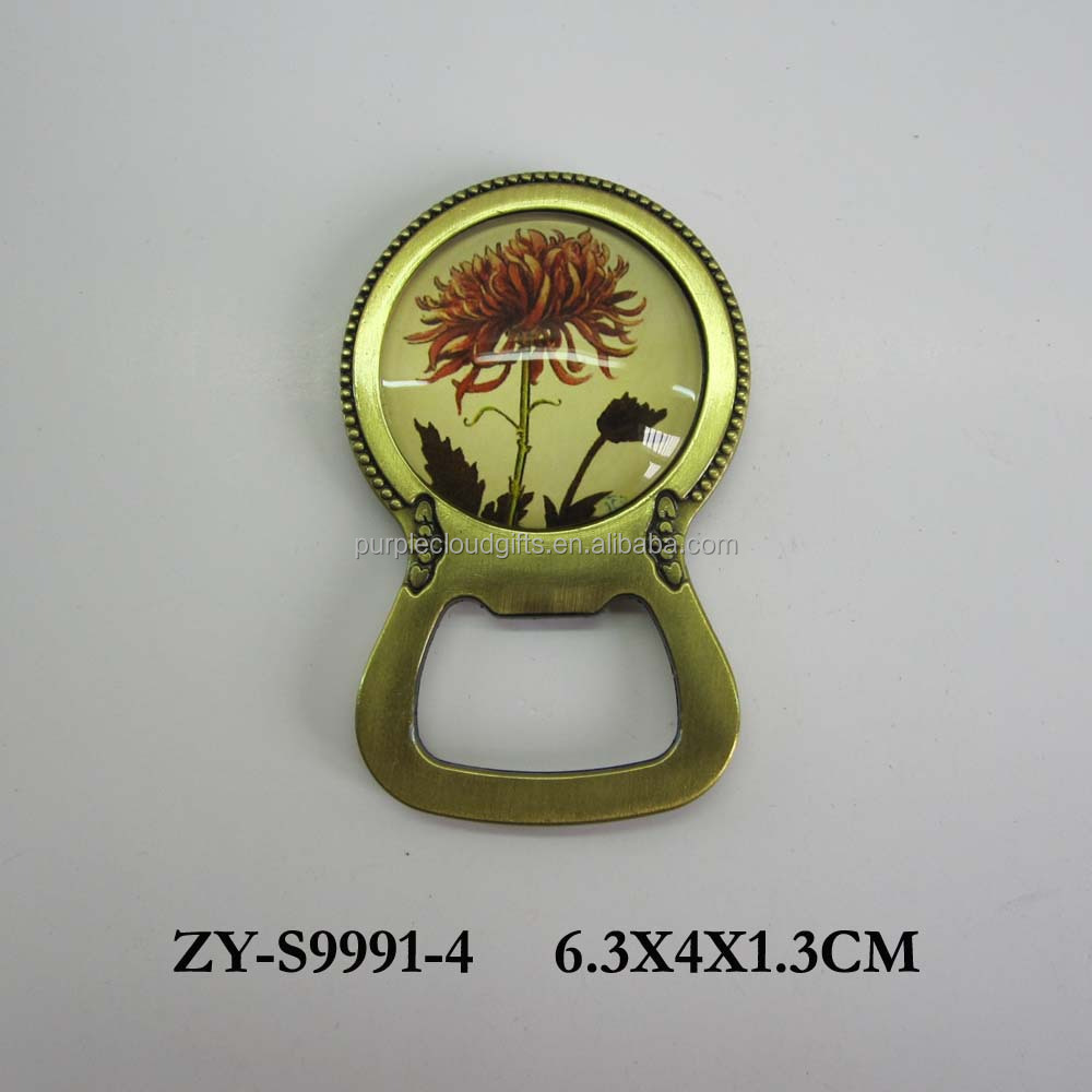 Customchrysanthemum design magnetic bottle opener , fridge magnet bottle opener