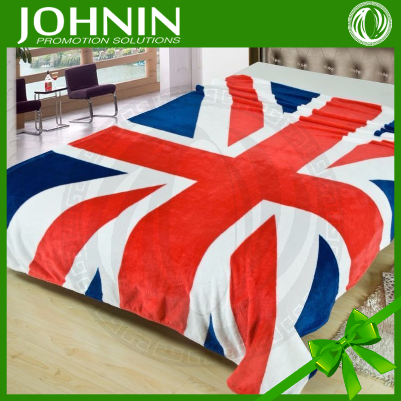 Soft feel Eco-friendly high quality low price polyester flag blanket