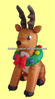120cm/4ft high polyester Christmas inflatable reindeer with garland