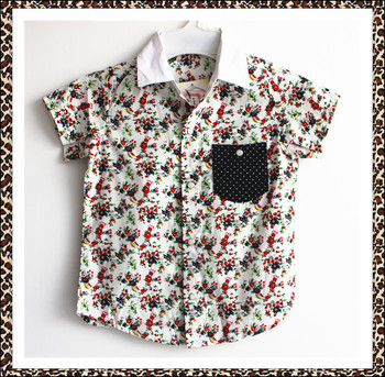 New summer 2016 short sleeve shirt, hawaii shirt for kid