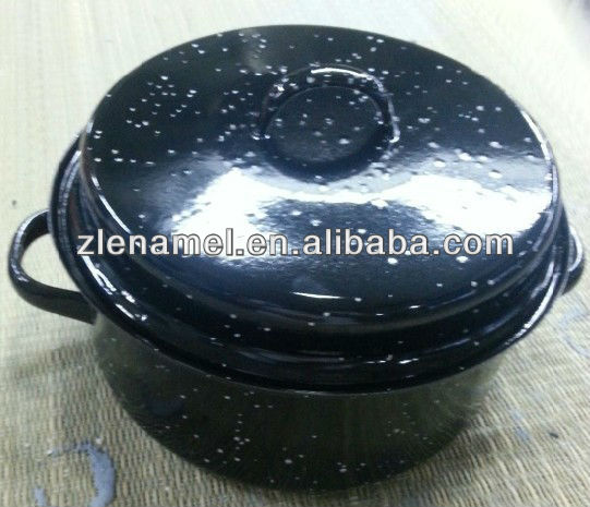 24cm Black Enamel Roasting Pan With Rack