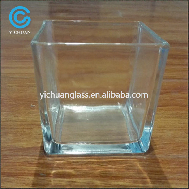 Crystal votive candle holder and square glass container