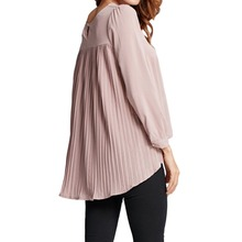 Women Chiffon Blouse Pleated Back Long Sleeve Asymmetric Shirt Loose Casual Plus Size Shirt Oversized Tops Female