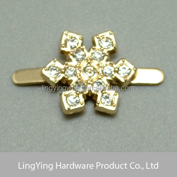 Shiny rhinestones decorated snowflake shaped custom small gold buckle
