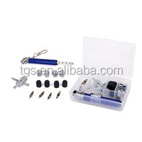 15pcs Small Tire Tackle Contents 1pc-small plastic box 1pc-Keychain pencil gauge 1pc-4-way tool 4pc-plastic ca