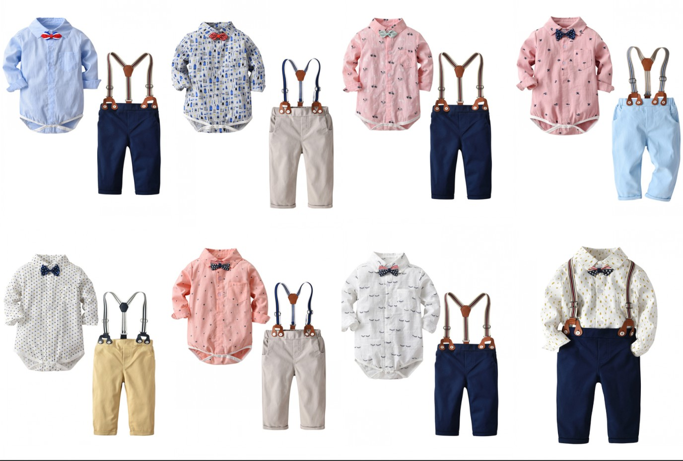 Toddler Children Clothes Suits Gentleman Style Baby Boys Clothing Sets Shirt Bib Pants Autumn Kids Infant Costume Y11469