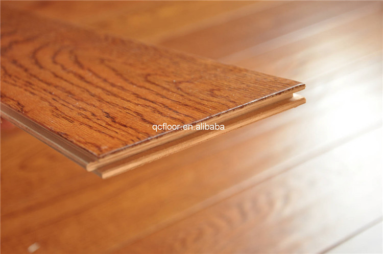 Multilayer Teak Stained Smooth Oak Engineered Wood Flooring