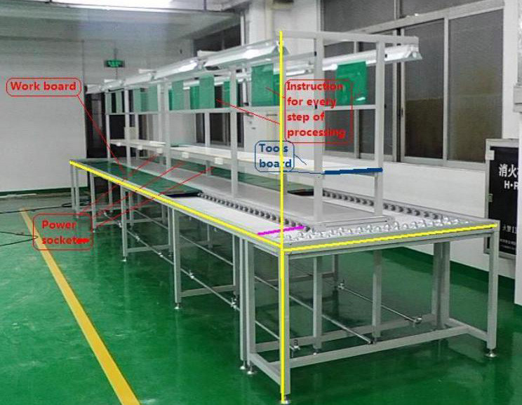Mobile Phone LED Light Electronics Assembly Line Belt Conveyor Equipment