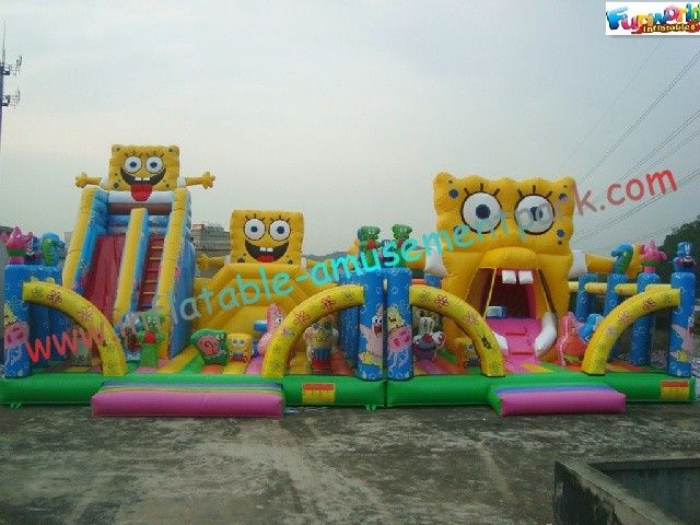 Spongebob Giant Inflatable Amusement Park , Inflatable Big Funcity Games