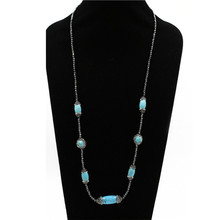 2018 Wholesale fashion jewelry natural blue turquoise loose gemstone beaded women necklace